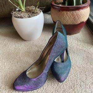 Purple and aqua sparkly pumps 🦚